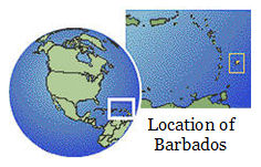 image showing location of Barbados