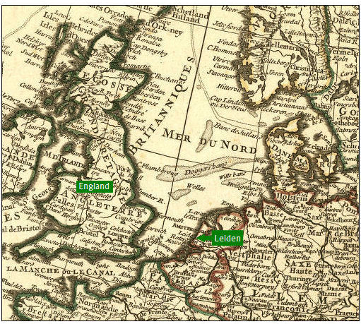 detail of 1769 map showing proximity of Leiden to England