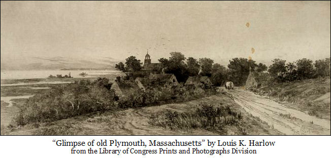 reproduction of 'Glimpse of Old Plymouth, Massachusetts' by Louis K. Harlow