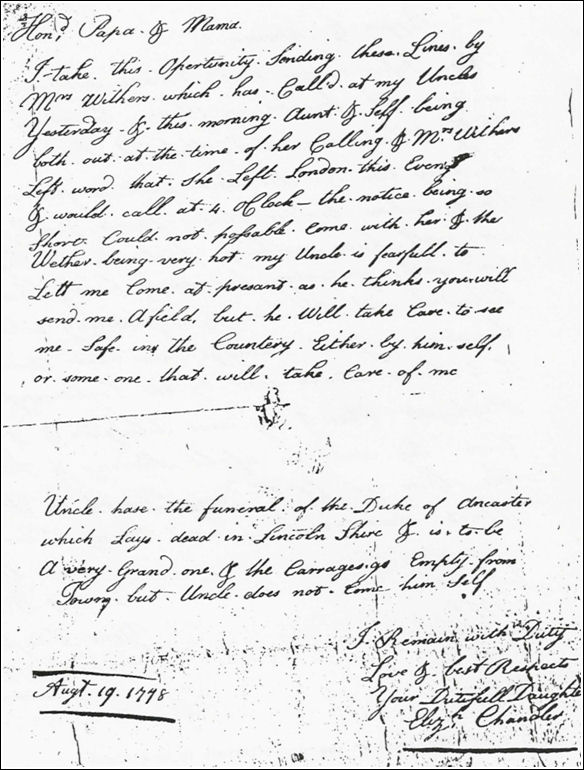image of letter from Elizabeth Chandler