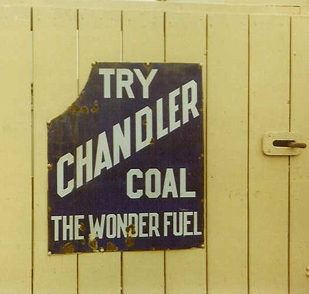 advertising sign for Chandler Coal, the Wonder Fuel
