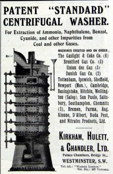advertisement for Kirkham Hulett & Chandler Centrifugal Washer