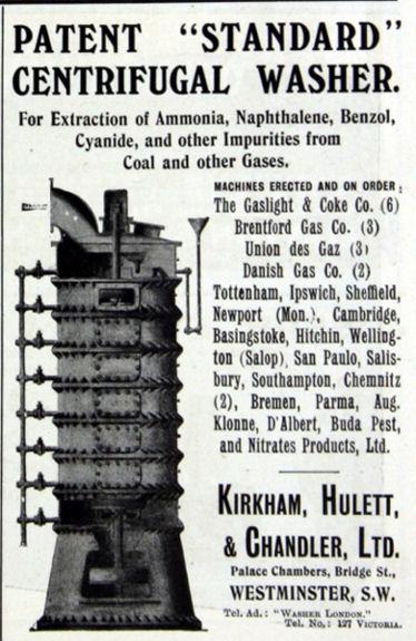 advertisement for Kirkham Hulett & Chandler Centrifugal Washer