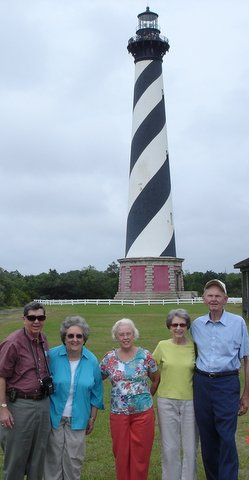 Connected by Chandler Research & 2010 CFA mtg. in Hampton VA, Larry Mahurin (left) with his 5th cousins Mary Lou Chandler Boal (center) and Graham Chandler ( right) on the Outer Banks NC June 2012. Mary Lou & Graham are 3rd cousins.